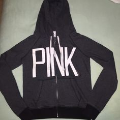 PINK sweatshirt! Worn twice, great condition! PINK Victoria's Secret Jackets & Coats