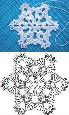 Wonderful DIY Crochet Snowflakes With Pattern - Szydełko Crochet Snowflake Pattern, Crochet Stars, Christmas Crochet Patterns, Holiday Crochet, Crochet Snowflakes, Thread Crochet, Christmas Knitting, Crochet Diagram, Crochet Motif