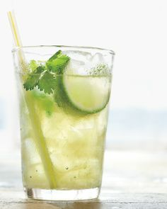Cilantro Limeade: Cool off with a fresh drink made with cilantro sprigs and lime, Wholeliving.com