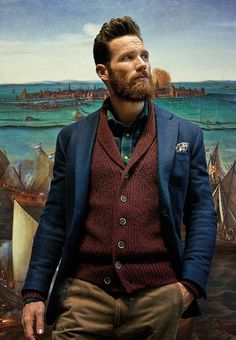 A burgundy shawl cardigan and khaki chinos are a good combination that will earn you a great deal of attention. Green Long Sleeve Shirt, Long Sleeve Shirts, Chinos And Blazer, Suit Supply, Shawl Cardigan, Red Shawl, Looks Style, Men's Style, Guy Style