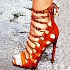 Shoespie Brown Wrap Dress Sandals