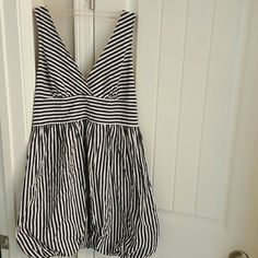 Dress Charlotte Russe Striped Navy Blue and White Balloon Parachute Dress Size Large Charlotte Russe Dresses Mini