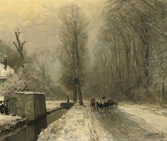 Returning home after the snowfall by Louis Apol (b. Lodewijk Frederik Hendrik Apol, 6 September 1850; The Hague, Netherlands – d. 22 November 1936; The Hague, Netherlands) Oil on canvas, 50 × 61 cm. Signed 'Louis Apol ft' (lower right) http://www.christies.com/LotFinder/lot_details.aspx?intObjectID=5121392 http://en.wikipedia.org/wiki/Louis_Apol