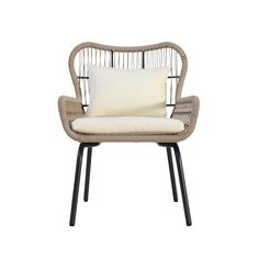 Noble House Joshua Brown Stationary Metal Outdoor Lounge Chair with Beige Cushions (2-Pack) Old Chairs, Patio Chairs, Outdoor Chairs, Outdoor Furniture, Porch Furniture, Black Chairs, Wicker Chairs, Folding Chairs, Cafe Chairs