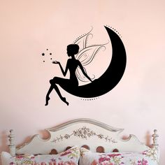Fairy Sitting on Moon Vinyl Wall Decal