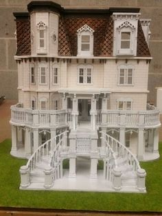 The Hegeler Carus Mansion scale dollhouse measures x (with porch stairs) x (inches). It is a replica of the Hegeler Carus mansion in La Salle, IL. Wooden Dollhouse Kits, Victorian Dollhouse, Dollhouse Miniatures, Homemade Dollhouse, Dollhouse Ideas, Modern Dollhouse, Lampe Crochet, Porch Stairs, Hobbies For Adults