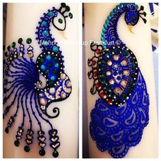 41 Fabulous Peacock Mehndi Designs and Ideas for Any Occasion - Page 40 of 41 - Mehndi YoYo Peacock Mehndi Designs, Peacock Blue, Design Inspiration, Pendant, Layout Inspiration, Pendants