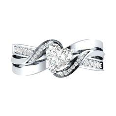 0.90ct Heart Shape D/VVS1 10k Solid White Gold Wedding Engagement Ring Sizable    eBay