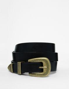 Cinturón envolvente con detalle de extremos y hebilla estilo western de ASOS