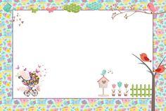 Jardim de Flores Rosa e Azul - Kit Completo com molduras para convites, rótulos para guloseimas, lembrancinhas e imagens! - Fazendo a Nossa Festa
