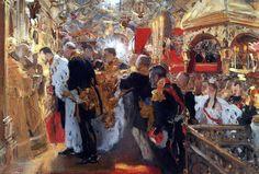 Coronation of the Emperor Nicholas II in The Uspensky Cathedral. Valentin Serov (Tretyakov Gallery, Moscow, Russia)
