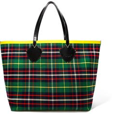Burberry Reversible leather-trimmed tartan cotton-twill tote (4 805 PLN) ❤ liked on Polyvore featuring bags, handbags, tote bags, burberry, reversible, tartan, green, green handbags, colorful tote bags and plaid purse