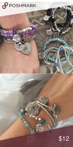 Bundle of 3 beaded charm bracelets ☀️ Bundle of 3 charm bracelet sets. Great condition Claire's Jewelry Bracelets