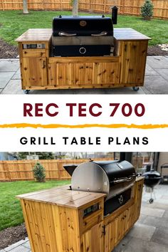 Detailed plans to build your own Rec Tec 700 Grill Cart. You can build this beautiful Rec Tec Grill Table in a weekend, for years of backyard BBQ fun! Big Green Egg Outdoor Kitchen, Big Green Egg Table, Outdoor Kitchen Plans, Outdoor Kitchen Design, Outdoor Kitchens, Outdoor Grill Area, Outdoor Grill Station, Grill Gazebo, Grill Cart