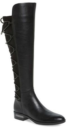 Corset-style lacing crisscrosses from ankle to knee up the back of this tall kicky boot outfitted with a half side zipper and a hidden rand. Color(s): black leather, fudge brownie leather. Brand: VINCE CAMUTO. Style Name:Vince Camuto Parle Over The Knee Corset Boot (Women). Style Number: 5211045. Available in stores.