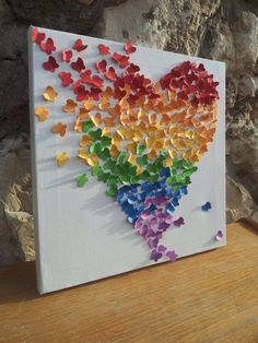 3D Butterfly Art / Butterfly Rainbow Heart / Nursery Decor /Children's Room Decor / Modern Art for Children - Made to Order. $75.00, via Etsy.