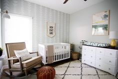 Let the Adventure Begin Nursery - love the modern feel of this sweet room!