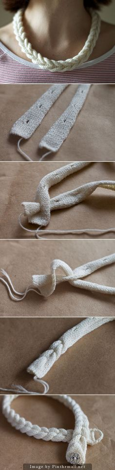 "#Knitting_Tutorial - ""A very clever way to create a braided looking necklace or bracelet. Lots of information and many more pictures at olgajazzzy."" Enjoy from #KnittingGuru ** http://www.KnittingGuru.etsy.com"