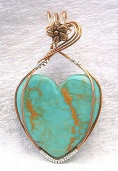 Turquoise heart handmade pendant