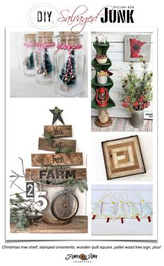 DIY Salvaged Junk Projects 404 - Christmas tree shelf, stamped ornaments, wooden quilt square, pallet wood tree sign, plus! Features plus NEW projects on funkyjunkinteriors.net #christmas