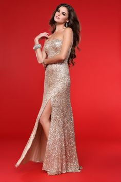Champagne Strapless Long/Floor-length Sequined Sparkly Prom Dress PD12B4