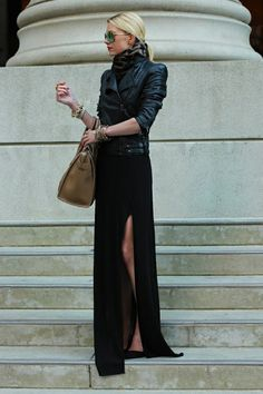 Long black dress worn w/ a leather jacket Dress: Zara. never been a black leather jacket kinda girl. but this might work Looks Street Style, Looks Style, Style Me, Black Style, City Style, Mode Chic, Mode Style, Leather Jacket Dress, Moto Jacket