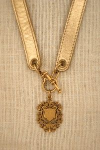 leather necklace with antique English medal by ExVoto Vintage Jewelry #vintagejewelry