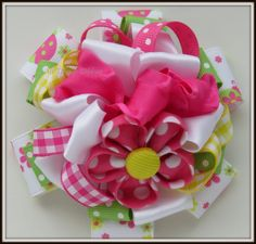 Lady Bug Picnic Flower Stack Hair Bow