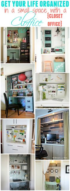 Get your whole life organized in a small space by converting a closet into a little office - or command central - 15 fabulous spaces to see.