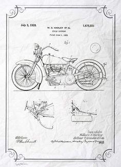Harley 1928 Vintage neo retro ancient invent por SoulArtCorner