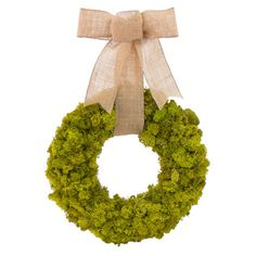 Preserved moss wreath with a bow.  Product: Preserved moss wreathConstruction Material: Preserved moss and jute