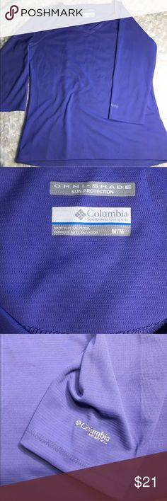 COLUMBIA PFG periwinkle Women's shirt M Omni-Shade Columbia PERFORMANCE FISHING GEAR long sleeve women's shirt MD periwinkle Columbia Tops Tees - Long Sleeve
