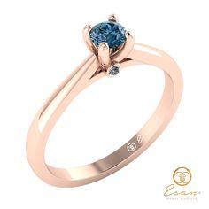 Inel de logodna din aur cu diamant albastru ES29 Aur, Petra, Sapphire, Rings, Jewelry, Jewlery, Bijoux, Schmuck, Jewerly