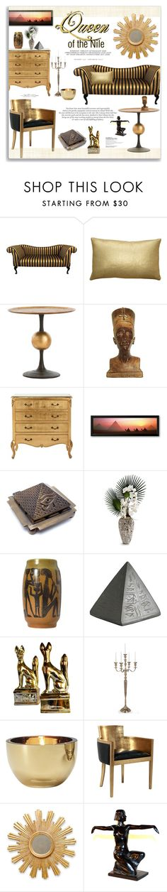 """Queen of the Nile ~ Egyptian Gold"" by alexandrazeres ❤ liked on Polyvore featuring interior, interiors, interior design, home, home decor, interior decorating, Pillow Decor, Arteriors, Child Of Wild and John-Richard"