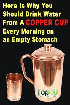 Drink Water Stored in a Copper Vessel to Reap Numerous Health Benefits - drinkwater Copper Vessel, Copper Cups, Copper Glass, Top 10 Home Remedies, Heart Attack Symptoms, Tomato Nutrition, Stomach Ulcers, Coconut Health Benefits, Natural Antibiotics