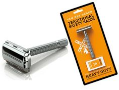 Traditional Double Edge Safety Razor w/ 5 Stainless Steel Blades Butterfly NEW #VanDerHagen