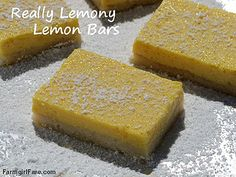 Really Lemony Lemon Bars (aka Pucker Up Lemon Bars) - so easy, so creamy, made with sweetened condensed milk rather than several cups of sugar. For serious lemon lovers only! — from Farmgirl Fare Cookie Desserts, Just Desserts, Cookie Recipes, Delicious Desserts, Dessert Recipes, Yummy Food, Lemony Lemon, Low Carb Protein Bars, Citrus Recipes