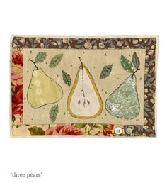 Sharon Blackman: more owls & pears! Small Quilts, Easy Quilts, Mini Quilts, Free Motion Embroidery, Machine Embroidery, Map Quilt, Quilt Blocks, Fabric Postcards, Fabric Pictures