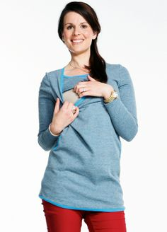 Striped Long Nursing Top with Pocket & Contrast Trim