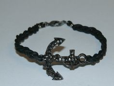 Bracelet  Black Leather Braid with Tarnished by CountryRichDesigns, $7.00
