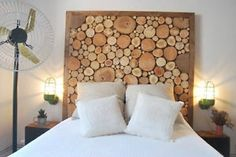 Trying To Find DIY Headboard Ideas? There are numerous low-cost ways to produce an unique distinctive headboard. We share a couple of brilliant DIY headboard ideas, to inspire you to design your room stylish or rustic, whichever you favor. Headboard With Lights, Wood Headboard, Diy Headboards, Headboard Ideas, Bed Lights, Natural Wood Furniture, Tree Furniture, Recycled Furniture, Handmade Wood Furniture