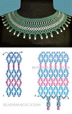 Free pattern for beaded necklace Samira és csepp alakú gyöngy Diy Necklace Patterns, Seed Bead Patterns, Beaded Jewelry Patterns, Beading Patterns, Bead Jewellery, Jewelry Making Beads, Wire Jewelry, Beaded Crafts, Jewelry Crafts