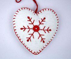 Scandinavian christmas hearts   NORDIC FRENCH CHRISTMAS / Felt Christmas Ornament Scandinavian Heart ...