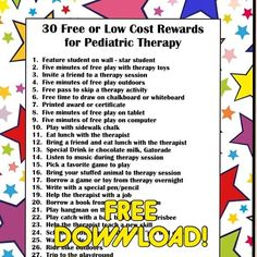 FREEIBIE ALERT!: Here is a great downloadable list, courtesy of Your Therapy Source (@yourtherapysource) -  30 Free or Low Cost Rewards for Pediatric Therapy  Enjoy all!! Down load it here:  http://www.yourtherapysource.com/punchcardfreebie.html - - click on pin for more!    - Like our instagram posts?  Please follow us there at instagram.com/pediastaff