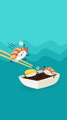 30 Ideas For Wall Paper Iphone Anime Food Arte Do Sushi, Sushi Art, Cute Wallpaper For Phone, Kawaii Wallpaper, Best Iphone Wallpapers, Cute Cartoon Wallpapers, Sushi Drawing, Cartoon Cupcakes, Plate Drawing