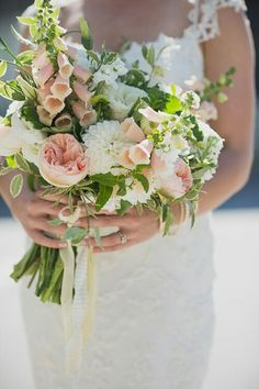 Romantic Bridal Bouquet Featuring: White Dahlias, White Lisianthus, White Mums, White Stock, Peach English Garden Roses, Peach Foxglove + Several Varieties Of Greenery & Foliage