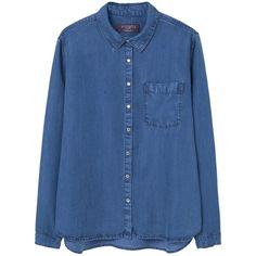 Violeta BY MANGO Medium Denim Shirt (245 PLN) ❤ liked on Polyvore featuring tops, denim shirt, blue shirt, long-sleeve shirt, long sleeve shirts and denim top