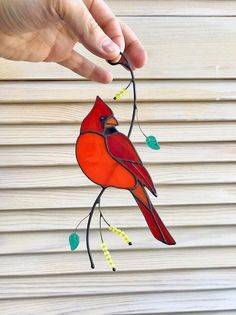 Red cardinal bird suncather window hangings - Red cardinal suncather on the brunch is made from stained glass and looks so cute. Stained Glass Tattoo, Stained Glass Cookies, Stained Glass Door, Stained Glass Ornaments, Stained Glass Christmas, Stained Glass Suncatchers, Stained Glass Panels, Stained Glass Window Hangings, Stained Glass Cardinal