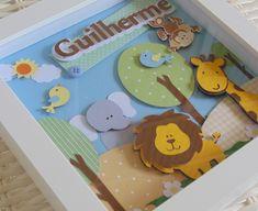 Prazo de produção 15 dias úteis + o prazo dos correios conforme o frete escolhido    * MOLDURA externa na COR BRANCA.    * TAMANHO INTERNO 18,8 x 18,8  TAMANHO EXTERNO 22,7 x 22,7, possui vidro.    Decoração é toda em PAPÉIS coloridos, em gramatura 180, com relevos em algumas partes.    Produto a... Shadow Frame, Diy Shadow Box, Baby Picture Frames, Baby Frame, Fairy Crafts, Diy And Crafts, Paper Crafts, Box Frame Art, Box Frames