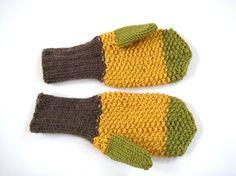 Yellow autumn mittens men gloves knitted mittens by RainbowMittens